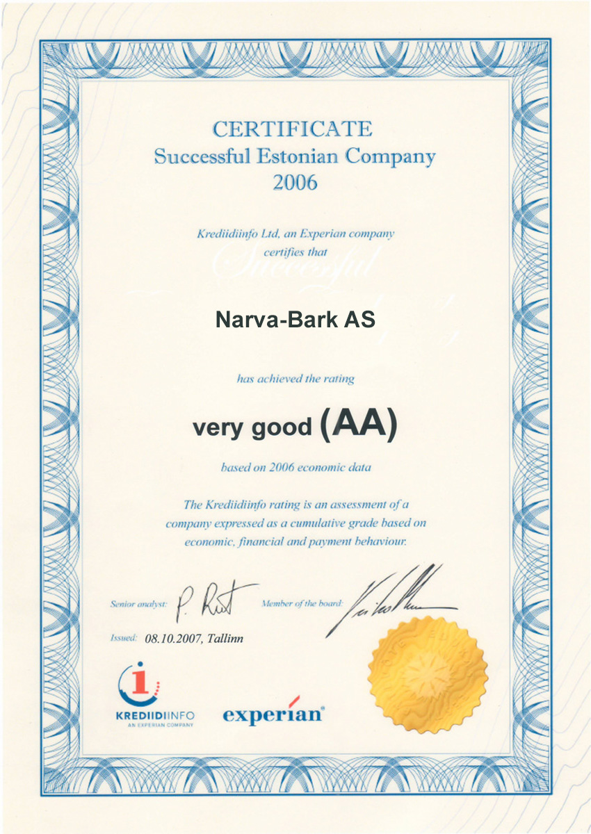 Narva-Bark AS has achieved the rating very good (AA) based on 2006 economic data
