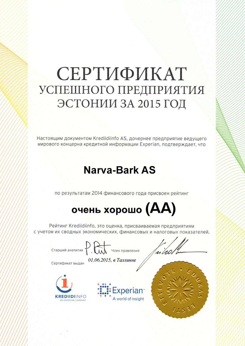 Narva-Bark AS has achieved the rating very good (AA) based on 2015 economic data